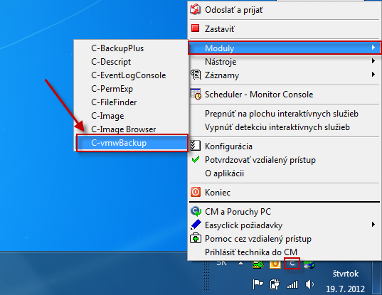 Spustenie modulu C - vmwBackup cez Tray menu C-Monitor ikonky