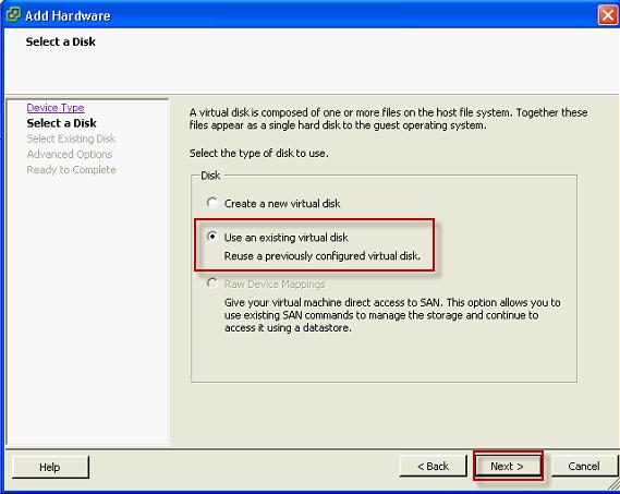V sprievodcovi pridaním nového HDD zvolíte možnosť Use an existing virtual disk pre primapovanie odzálohovanej VM