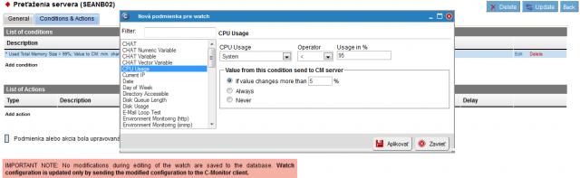 Nastavenie podmienky pre sledovanie CPU