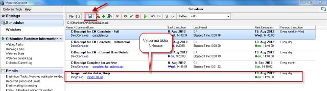 Zálohovacia úloha je pridaná do schedulera
