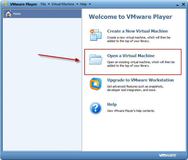 Po spustení VMware playera kliknete na tlačidlo Open a Virtual Machine