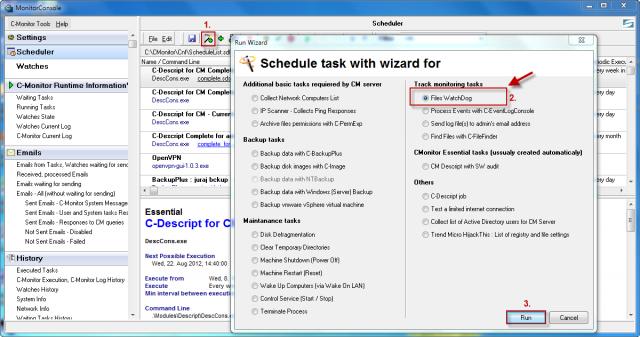 Spustenie wizarda na nastavenie sledovania zmien súborov