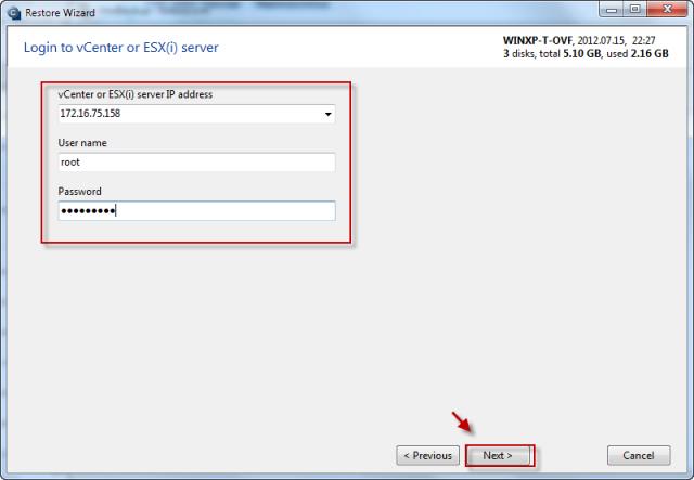 Zadáte IP adresu, prihlasovacie meno a heslo ESX(i) servera alebo vCentra kam chcete zálohu obnoviť