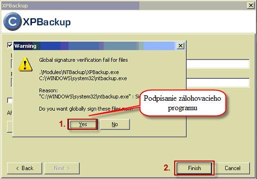 Výzva na podpísanie zálohovacieho programu NTBackup