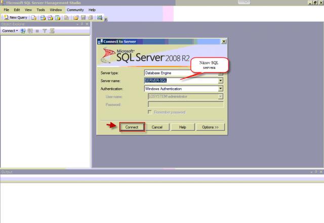 Prihlásenie na SQL server zadaním názvu servera v prípade lokálneho pripojenia pod Správcovským kontom môžete nastaviť spôsob autentifikácie cez windows authentification