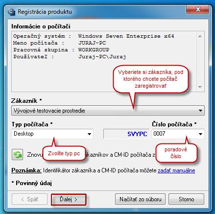 Výber zákazníka, čísla počítača a typu počítača