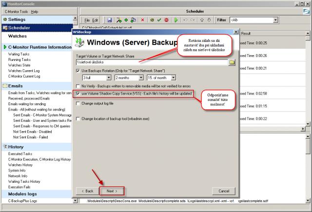 Nastavenie miesta pre ukladanie záloh, rotácia zálohovania sa dá nastaviť len v prípade ukladania záloh na sieťové úložisko