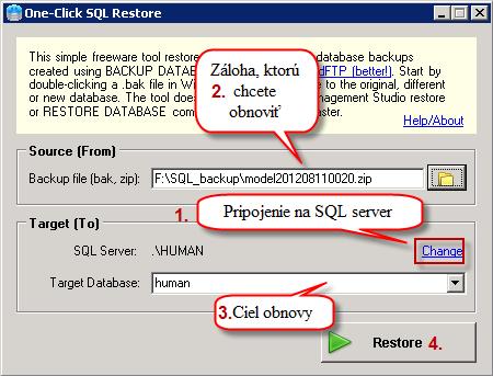Nastavenie a spustenie obnovy SQL databázy