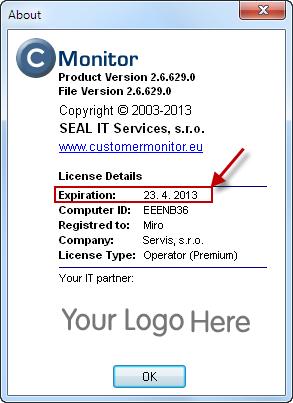 Skontrolovanie dátumu expirácie licencie na C-Monitor klientoch priamo na počítači (About v C-Monitore alebo v ktoromkoľvek module)