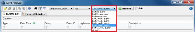 Nastavovanie zobrazovania udalostí v EventAnalyseri