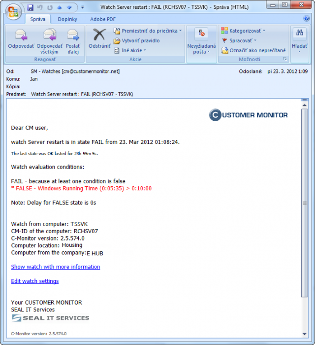 Notifikačný e-mail