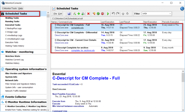 Obrázok 2 – C- MonitorConsole, čast Scheduler – verzia 3.0.737.0