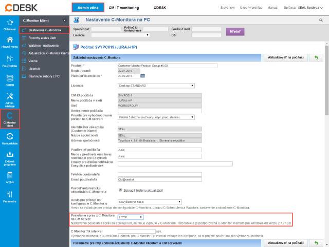 Obrázok 4 – Nastavenie komunikačného protokolu cez CM portál