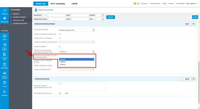 Nastavenie autorizácie požiadaviek cez konto zákazníka/operátora