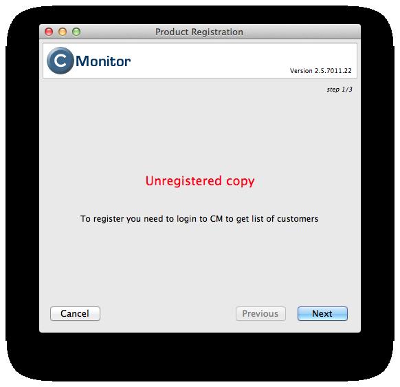 Výzva C-Monitora na registráciu klienta na serveri
