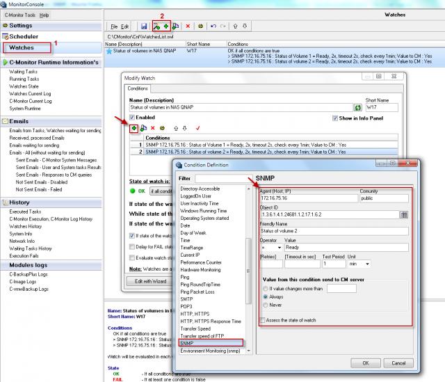 Nastavenie vyčítania konkrétneho SNMP parametra a príkladom nastavenia podmienky