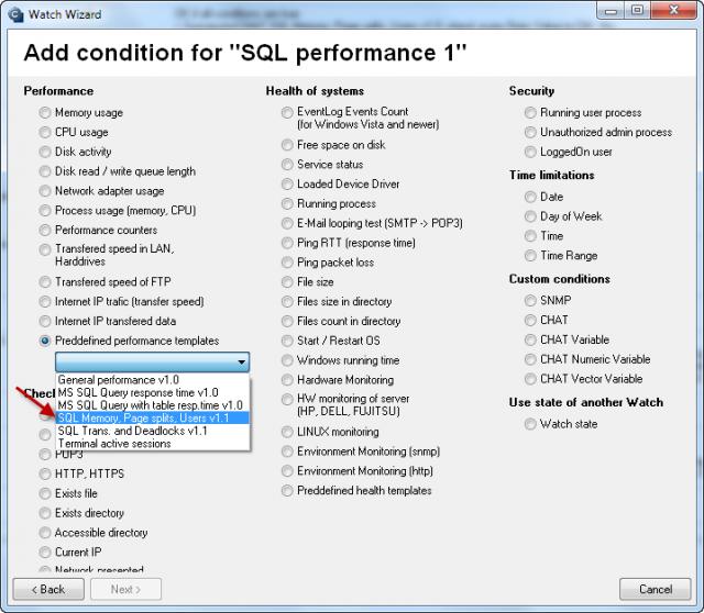 Výber šablóny k meraniu počtu SQL transakcií, deadlockov a kontrola služieb