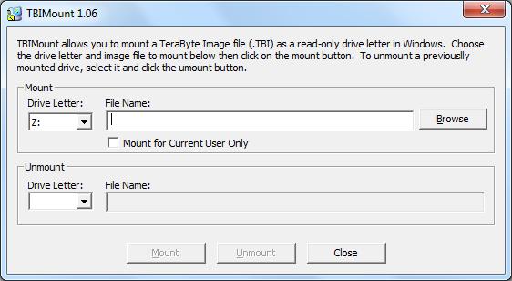 TBIMount utilita k namapovaniu .tbi súborov do OS ako písmeno disku