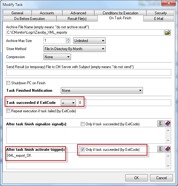 Nastavenie odštartovania FTP úlohy prostredníctvom Trigger-u, ak export dopadol bezchybne