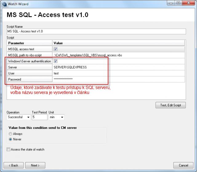 Parametre pre konfiguráciu prístupového testu k SQL serveru