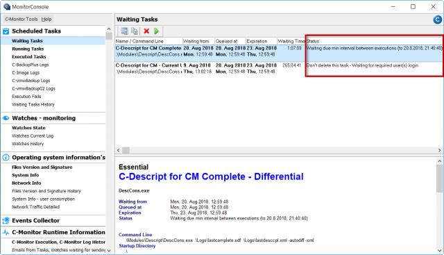 Zobrazenie čakajúcich úloh cez C-Monitor klienta