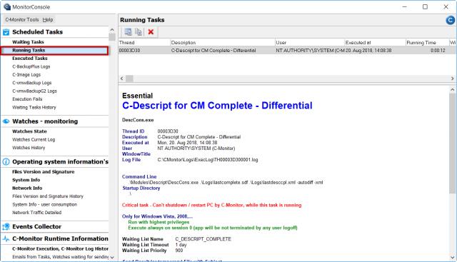 Zobrazenie spustených úloh cez C-Monitor klienta