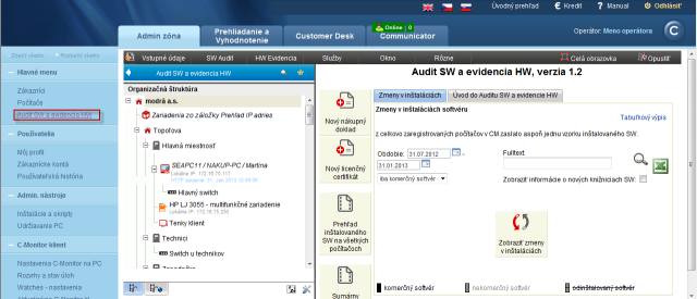 Zobrazenie detailu konkrétneho zákazníka v Audit SW a evidencia HW
