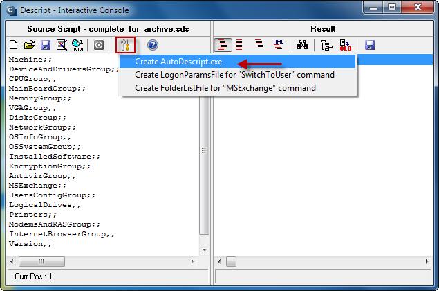 Následne vytvoríte spúšťací súbor audodescript.exe