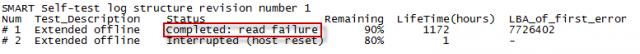 Vyhodnotenie chybného stavu disku