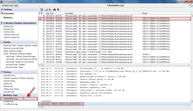 Zobrazenie Logov z C-Backup zálohovanie cez C-Monitor klienta