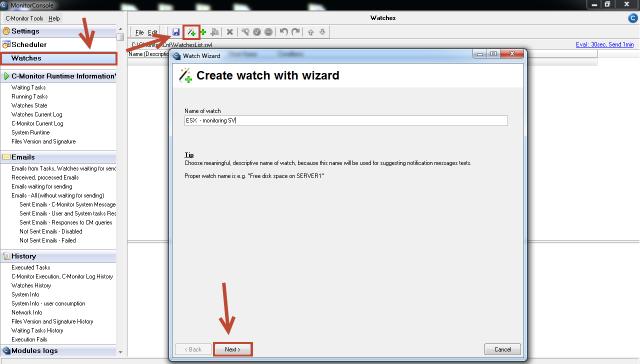 Vytvorenie watchu pre monitoring ESX servera