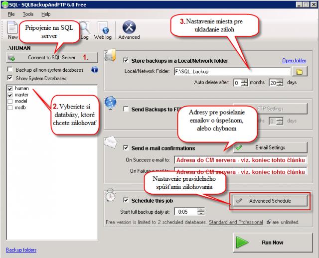 Nastavenie zálohovania SQL databázy