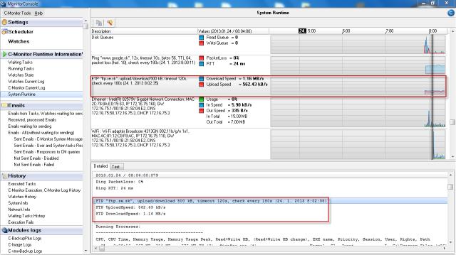 Zobrazenie aktuálneho stavu Ftp rýchlosti v časti System  Runtime