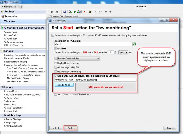 Nastavenie akcie pri prechode watchu do stavu fail, možnosť odoslania sms správy