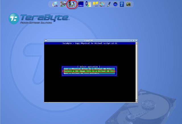 Spustenie nástroja CopyP2V z vrchného menu pre konverziu .tbi do VM a voľba akcie.