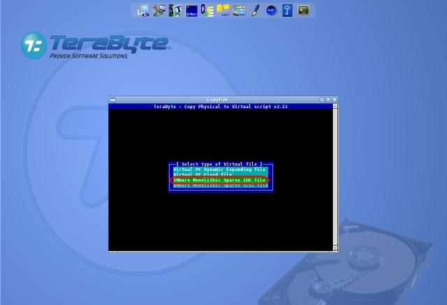 Voľba formátu VM (VHD alebo VMDK), doporučujeme VMware Monolitic Sparse IDE file