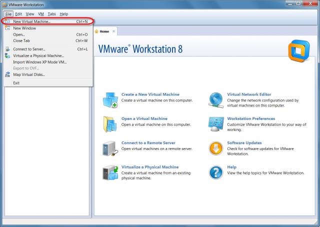 Vytvorenie novej VM vo WMware Workstation 8