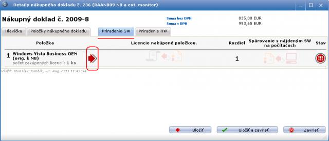 Záložka zobrazujúca  priradenie evidovanej licencie k položke z dokladu (aktuálne je nepriradená). Sprievodcu priradením spustíte vyznačenou červenou  šípkou.