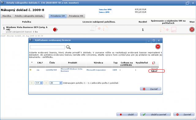 Priradenia evidovanej licencie k položke dokladu