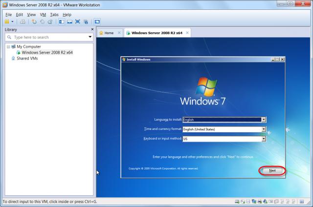 Úvodná obrazovka po nabootovaní z ISO Windows 7 x64