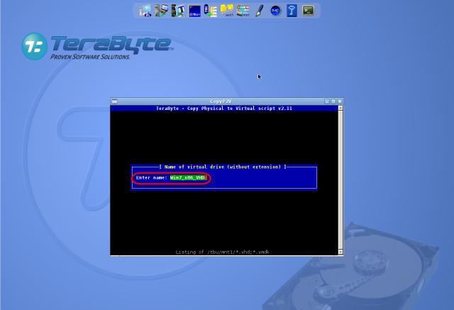 Zadanie názvu súboru s virtuálnym strojom (typ .vhd) pre skonvertovanú zálohu