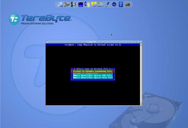 Voľba formátu VM (VHD alebo VMDK), doporučujeme Virtual PC Dynamic Expanding file