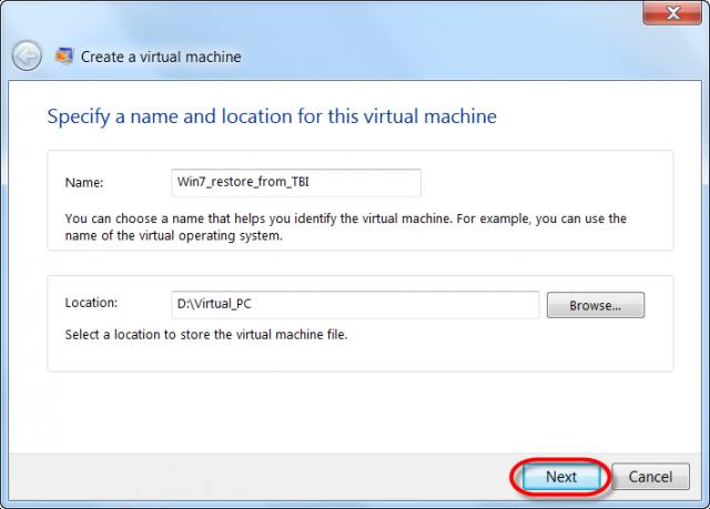 Zadanie názvu a lokality pre uloženie VM