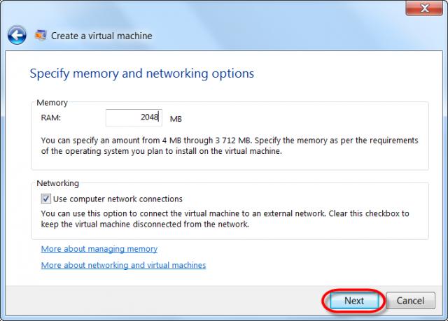 Pridelenie operačnej pamäte pre VM a pripojenie VM do siete