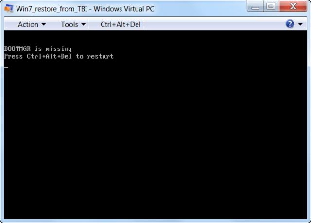 Bootovanie VM je potrebné opraviť pomocou inštalačného média Windows 7 x32