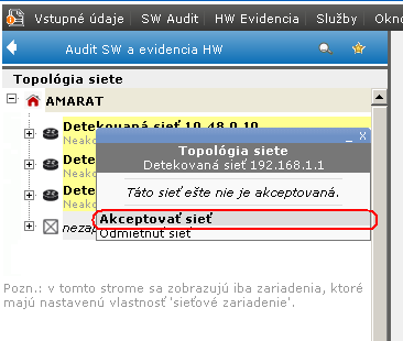 Kontextové menu k akceptácii siete