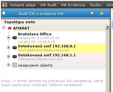 Akceptovaná sieť Bratislava Office, odmietnutá 192.168.1.1 (Zobrazenie Odmietnutých sietí sa dá vypnúť v Možnosti zobrazenia topológie siete).