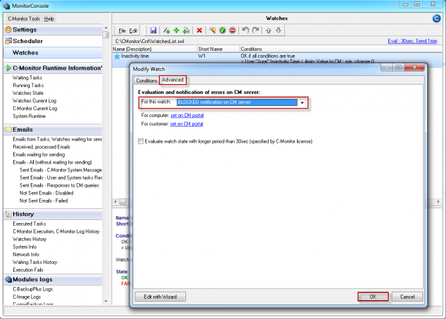 Vypnutie notifikácie watchu na CM server
