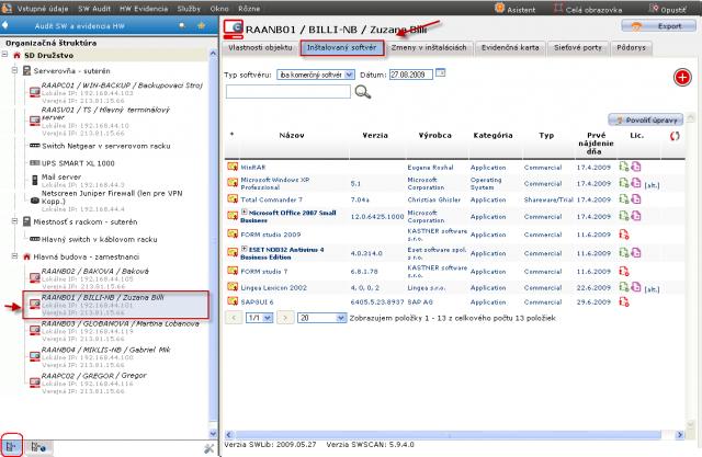 Zoznam nainštalovaného softvéru pre konkrétne zariadenie v časti Admin.zóna -> SW audit (a HW evidencia)