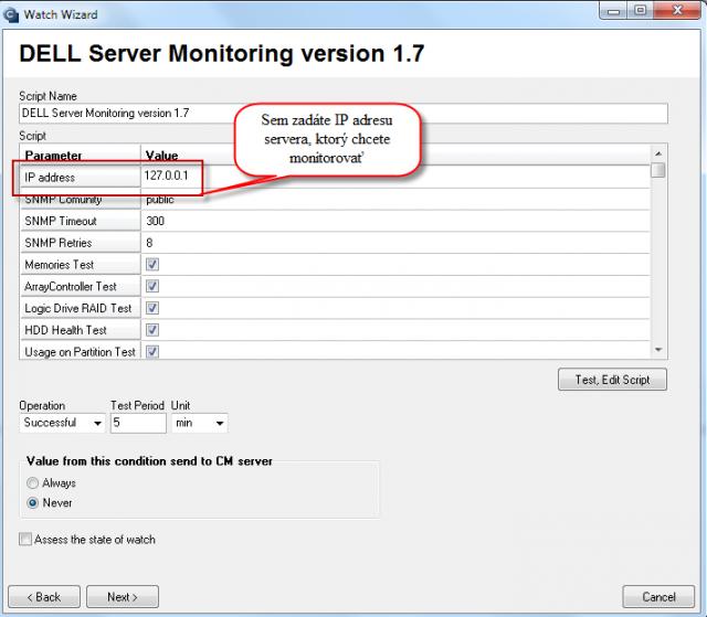 Zadanie IP adresy servera, ktorý chcete monitorovať